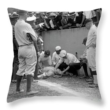 Babe Ruth Knocked Out By A Wild Pitch Throw Pillow