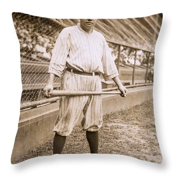 Babe Ruth On Deck Throw Pillow