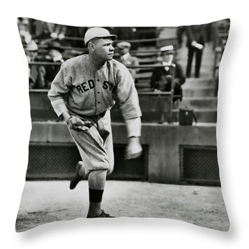Babe Ruth - Pitcher Boston Red Sox  1915 Throw Pillow by Daniel Hagerman