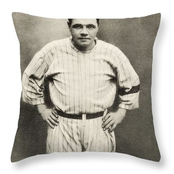 Babe Ruth Portrait Throw Pillow