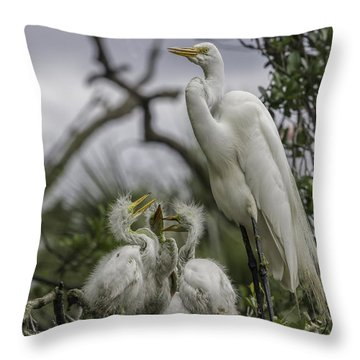 Babies In The Nest Throw Pillow