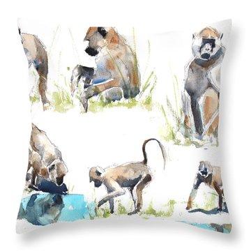 Baboon Life Throw Pillow