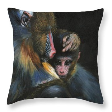 Baboon Mother And Baby Throw Pillow by David Stribbling