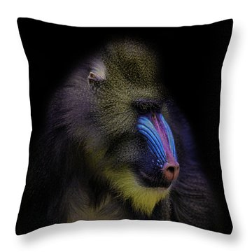 Baboon Portrait Throw Pillow