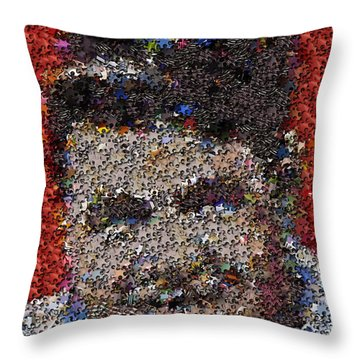 Throw Pillow featuring the mixed media Babr Ruth Puzzle Piece Mosaic by Paul Van Scott