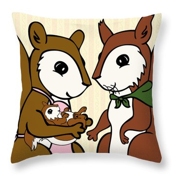 Baby Acorn Throw Pillow by Christy Beckwith