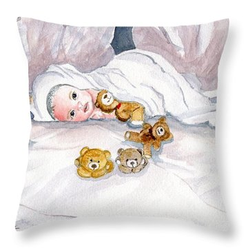 Baby And Friends Throw Pillow