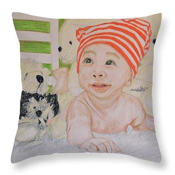 Baby And Stuff Bears Throw Pillow