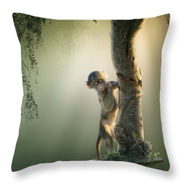 Baby Baboon In Tree Throw Pillow