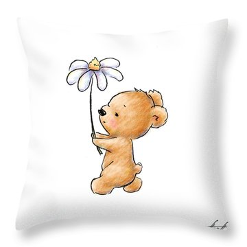 Baby Bear With Flower Throw Pillow