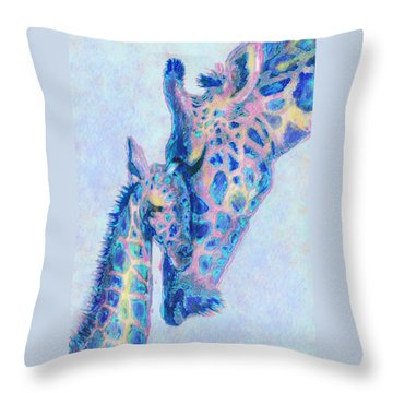 Baby Blue  Giraffes Throw Pillow by Jane Schnetlage