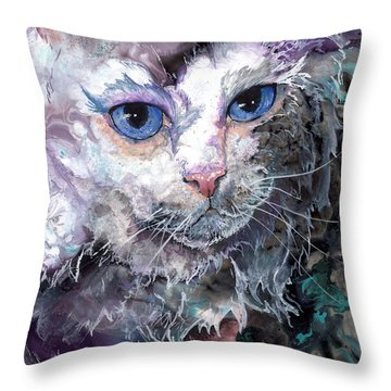 Throw Pillow featuring the painting Baby Blues by Sherry Shipley