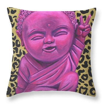 Baby Buddha 2 Throw Pillow by Ashley Price