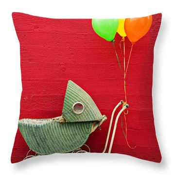 Baby Buggy With Red Wall Throw Pillow by Garry Gay
