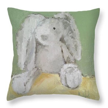 Baby Bunny Throw Pillow by Barbara Andolsek