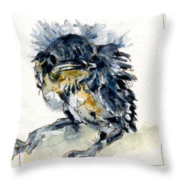 Baby Carolina Wren Throw Pillow by John D Benson