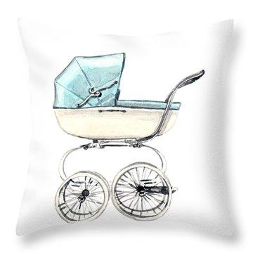 Baby Carriage In Blue - Vintage Pram English Throw Pillow