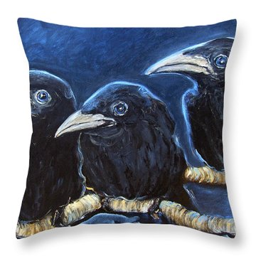 Baby Crows Throw Pillow