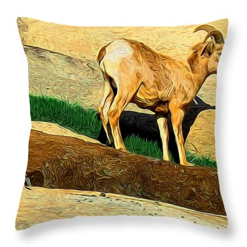 Baby Desert Bighorn In Abstract Throw Pillow