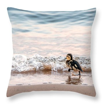 Baby Duck Running On A Beach Into The Waves Throw Pillow