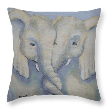 Baby Elephant Friends Throw Pillow