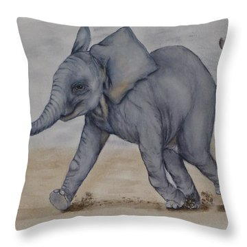 Baby Elephant Run Throw Pillow by Kelly Mills