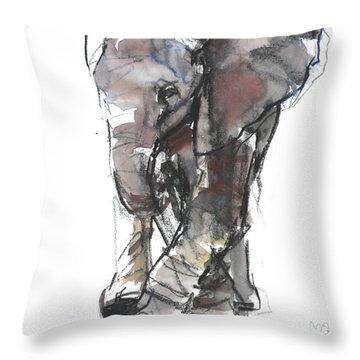 Baby Elephant Study Throw Pillow