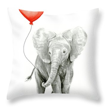 Baby Elephant Watercolor Red Balloon Throw Pillow