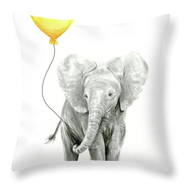 Baby Elephant Watercolor With Yellow Balloon Throw Pillow