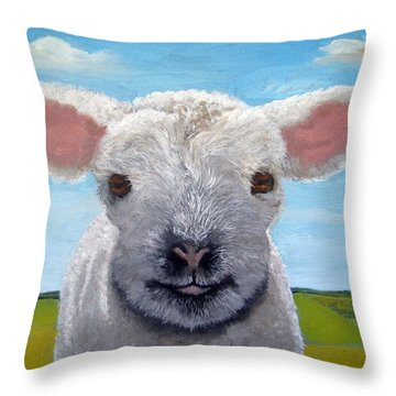 Baby Farm Lamb Sheep  Throw Pillow
