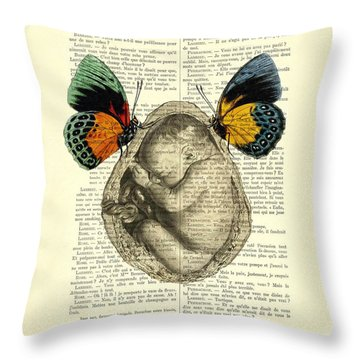 Baby Foetus And Butterflies Throw Pillow
