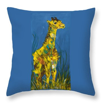 Baby Giraffe  Throw Pillow by Catherine Jeltes