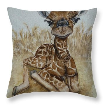 New Born Baby Giraffe Throw Pillow