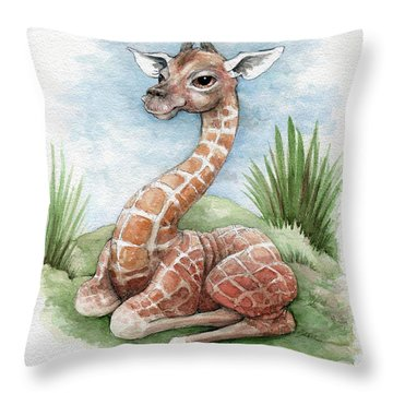 Throw Pillow featuring the painting Baby Giraffe by Lora Serra