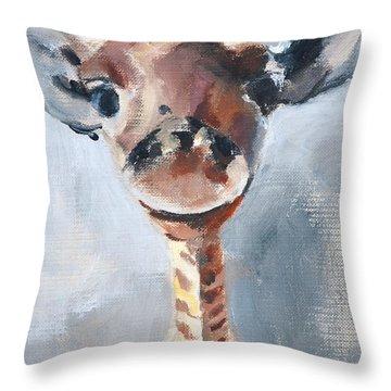 Baby Giraffe Safari Animal Painting Throw Pillow