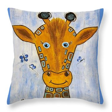 Baby Giraffe Throw Pillow by Suzanne Theis