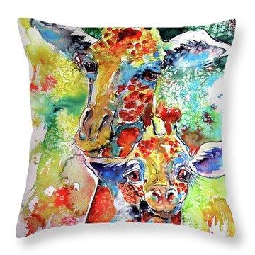 Baby Giraffe With Mammy Throw Pillow by Kovacs Anna Brigitta