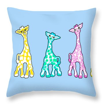 Baby Giraffes In A Row Pastels Throw Pillow by Rachel Lowry