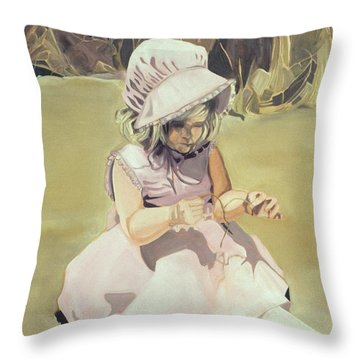 Baby Girl Discovering Throw Pillow