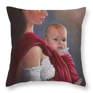 Baby In Rebozo Throw Pillow