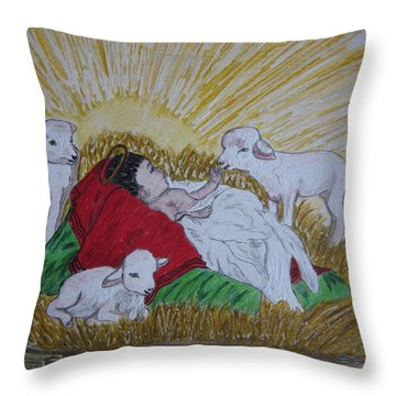 Baby Jesus At Birth Throw Pillow