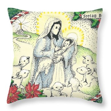 Baby Jesus In Medjugorje Throw Pillow