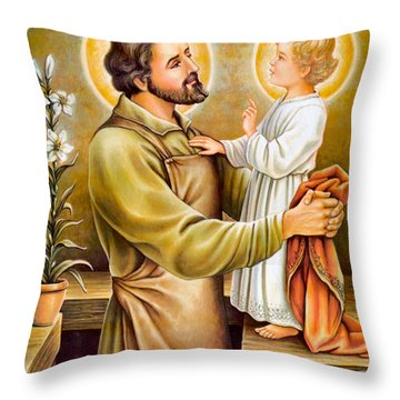 Baby Jesus Talking To Joseph Throw Pillow