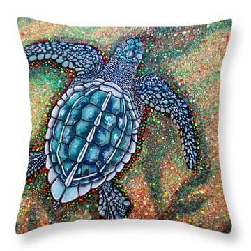 Throw Pillow featuring the painting Baby Leatherback Sea Turtle by Debbie Chamberlin