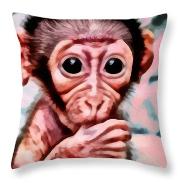 Baby Monkey Realistic Throw Pillow