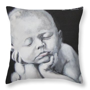 Throw Pillow featuring the painting Baby Nap by Eric Dee