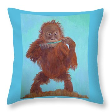 Baby Orangutan Playing Throw Pillow