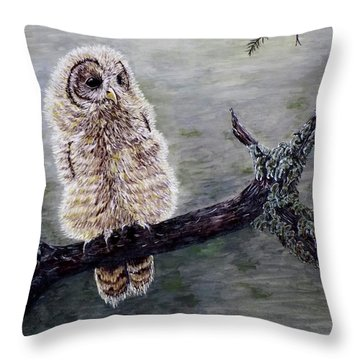 Throw Pillow featuring the painting Baby Owl by Judy Kirouac