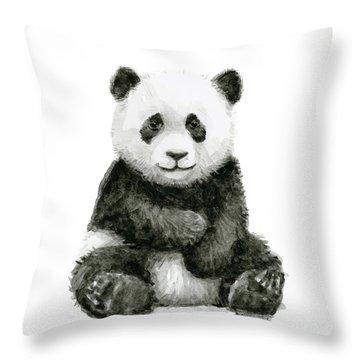 Baby Panda Watercolor Throw Pillow