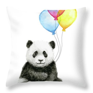 Baby Panda Watercolor With Balloons Throw Pillow